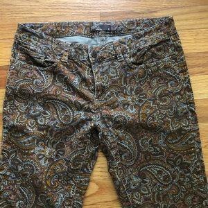 PRANA Paisley Patterned Corduroy Pants Size 8